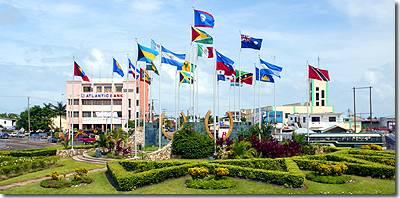 Flags round-a-bout in Belize City