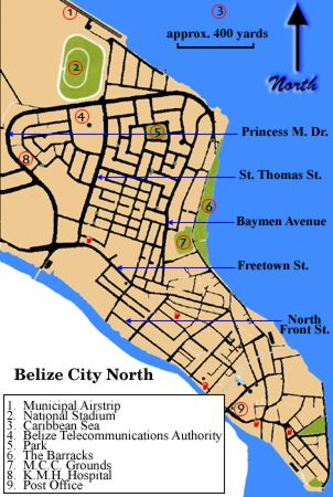 The attractions of Belize City in the Belize District of Belize